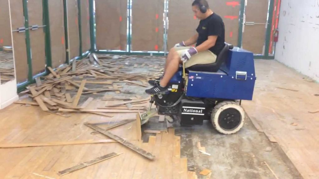 flooring removal in a pet store